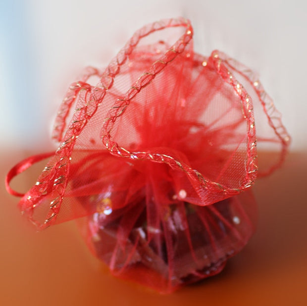 26cm 50pcs Red Candy Bags For Wedding Round Christmas Organza Bags Gift Packaging Bags Women Drawstring Bag Package Display