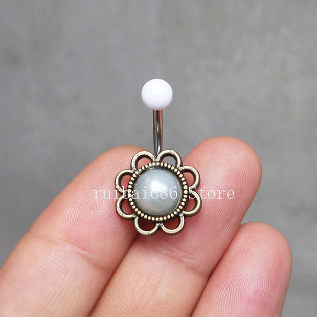 2pcs Flower Pearl Belly Button Ring Pearl Navel Piercing Belly Button Piercing Belly Jewelry