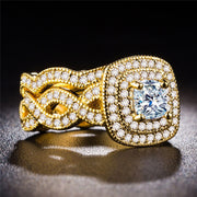 2pcs/Set Rings For Couple Lover Fashion Gold Color AAA Zircon Engagement Wedding Rings For Women Men Jewelry Accessories Set RGD