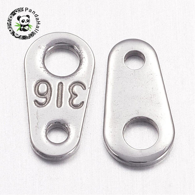 304 Stainless Steel Chain Tabs, 8x4mm, Hole: 1mm