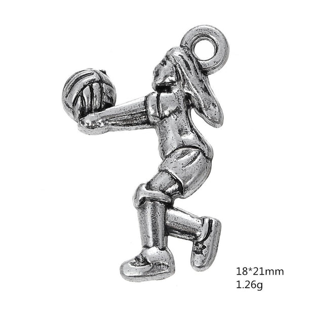30PCS Making Handmade Volleyball Player Sports Silver Pendant Charms Jewelry Fit For Bracelet&Necklace&Key Chain Charm Jewelry