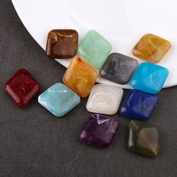 30Pcs Round Square Acetic Acid Resin Charms DIY Jewelry Earring Findings Pendants