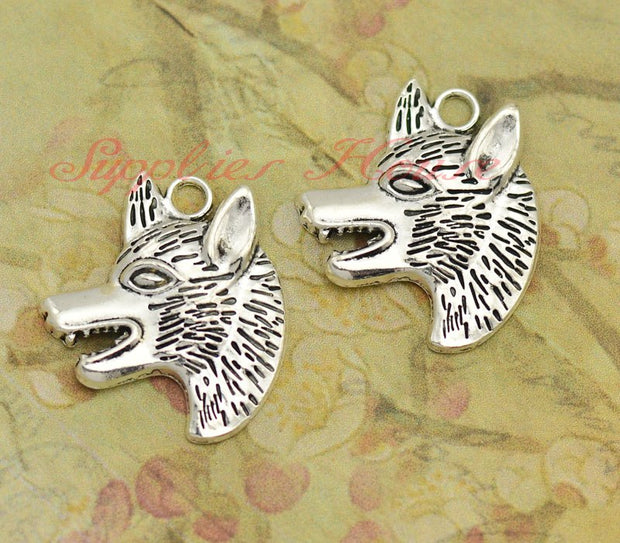 30pcs/lot --33x29mm,Wolf Charms, Antique Silver Wolf Head Pendants/Charms,DIY Supplies, Jewelry Making