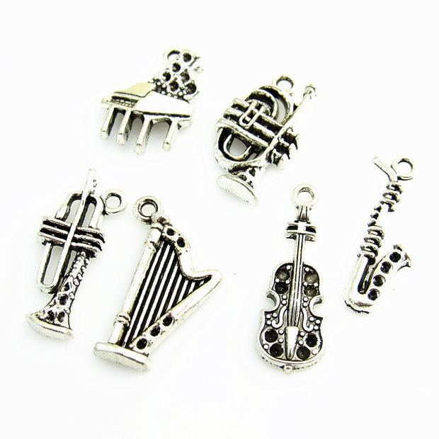 30pcs/lot Hot Sell Mix Musical Instrument Floating Dangle Charms For DIY Fashion Pendant Jewelry