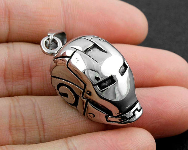 316L Stainless Steel Vintage Biker Iron Man Helmet Pendant Chain HERO MASK CooL!