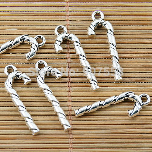 36pcs Tibetan Silver Walking Stick Charms EF1369