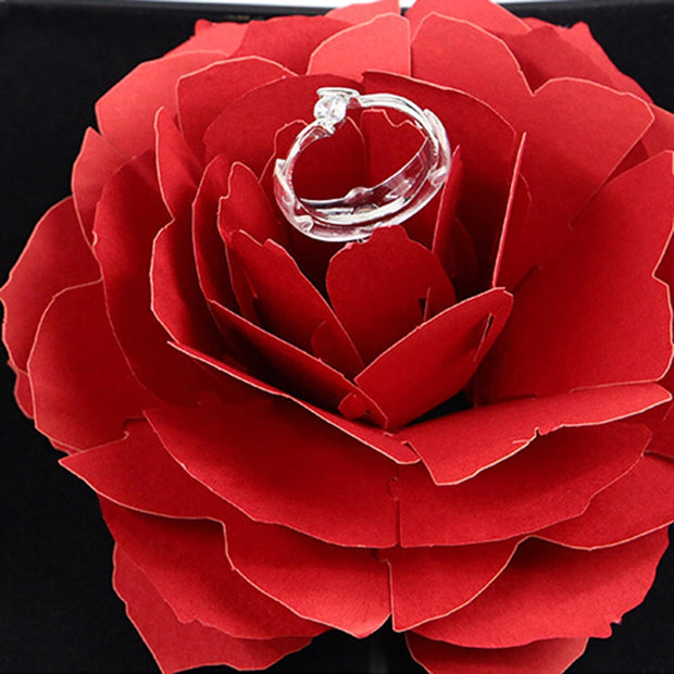 3D Pop Up Rose Flower Ring Box Wedding Engagement Jewelry Storage Holder Case