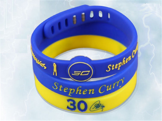 3pcs/set Hot Sale Basketball Sports Rubber Wristband Super Star Signature Silicone Bangle Metal Buckle Bracelet For Curry