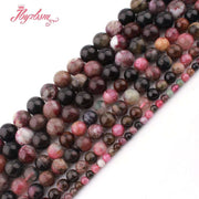 "4,6,8,10mm Round Multicolor Tourmaline Beads Natural Stone Beads For DIY Necklace Bracelats Jewelry Making 15"" Free Shipping"