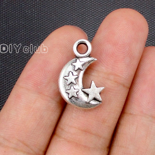 40pcs- Antique Tibetan Silver Moon And Star Charms 21x14mm
