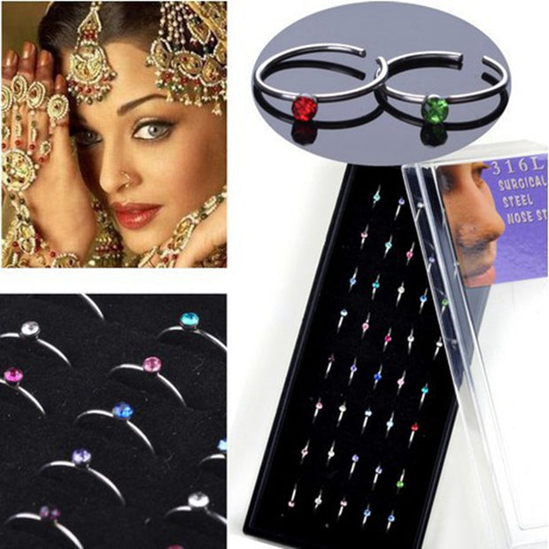 40pcs Sexy Piercing Nose Ring Stainless Steel Nose Ring Studs Colorful Rhinestone De Nariz Piercing Body Jewelry Earrings Girls