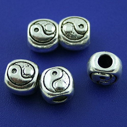 40pcs Tibetan Silver 2sided Oblate Spacer Beads H1445