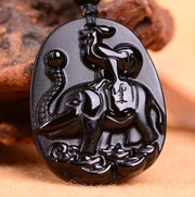 41x32mm Beautiful Natural Black Obsidian Carved Elephant Cock Lucky Chinese Twelve Zodiac Totem Pendant + Beads Necklace Fashion