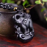 43x30mm New Wonderful Chinese Handwork Natural Black Obsidian Carved Elephant Lucky Pendant Necklace Fashion Pendants Jewelry