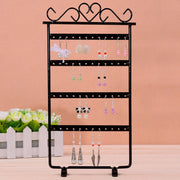 48 Holes Long Jewelry Stud Earrings Holder Organizer Display Rack Pink Metal Stand Showcase #84280