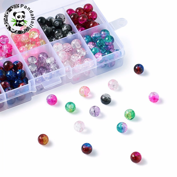 CRACKLE GLASS ROUND BEADS 4MM 8MM 10MM PICK COLOUR 6MM
