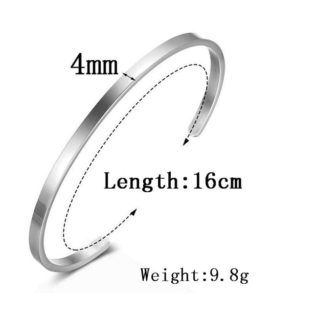 4mm Personalised Gifts ID Bangles For Lovers' Engrave Name Stainless Steel Initials Custom Engraved Mantra Bracelets & Bangles