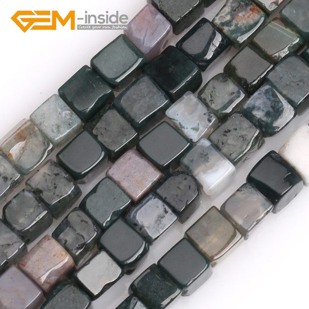 4mm Square Shape Cube Natural Indian Agates Green Unakite Jades Pink Rhodonite Stone Beads For Jewelry Making DIY Wholesale!!