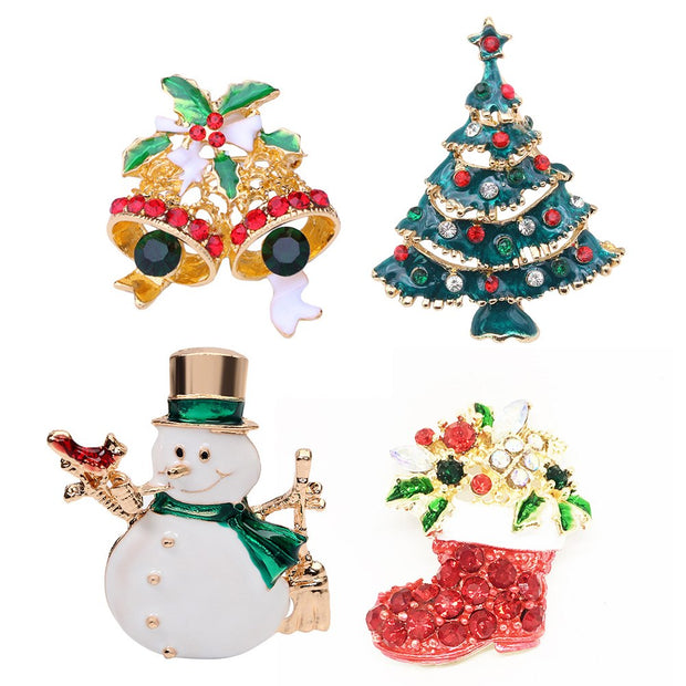 Christmas Brooches And Pins.4pcs Christmas Brooches Rhinestones Brooch Pin Breastpin Women Jewelry Accessories For Hat Bag Clothes Shawl Scarf Decoration