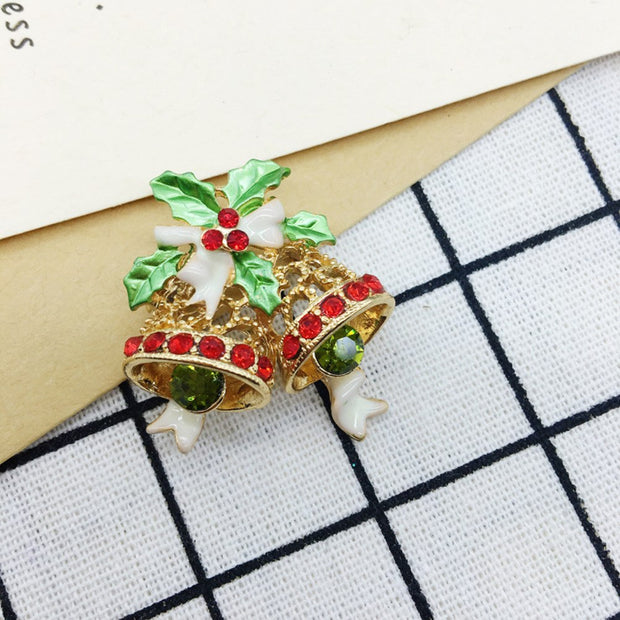 Christmas Brooches And Pins.4pcs Christmas Brooches Rhinestones Brooch Pin Breastpin