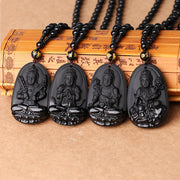 5*3cm 3A Obsidian Necklace Natural Stone Pendant Buddha Guardian Ball Chain Lucky Gift Necklace Femme Boho Black Healing Crystal