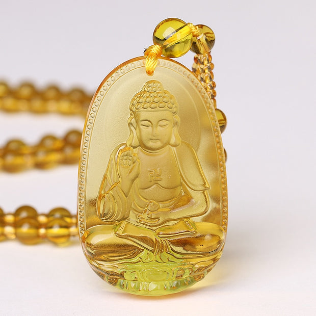 5*3cm High Quality Unique Natural Yellow Crystal Carved Buddha Happy Amulet Pendant Necklace Women Men Jewelry Healing Crystal