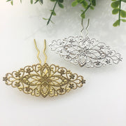 5 PCS 35*80mm New Arrive Metal Copper Flowers U Shape Hair Sticks Base Setting For Women DIY Jewelry Accessory