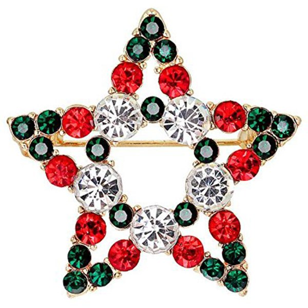 5 PCS/Pack Rhinestone Crystal Christmas Brooch Pin Set For Christmas Decorations Ornaments Gifts
