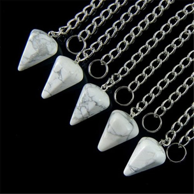 (5 Pieces/lot) Wholesale Natural White Howlite Pendulum Pendant Bead 25x15mm Free Shipping Fashion Jewelry H-CPLJBC12