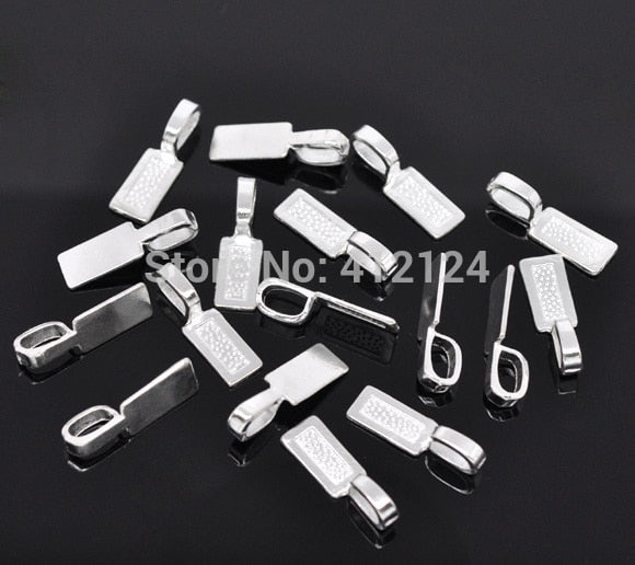 50 Silver Plated Tag Glue on Bail 26x8mm