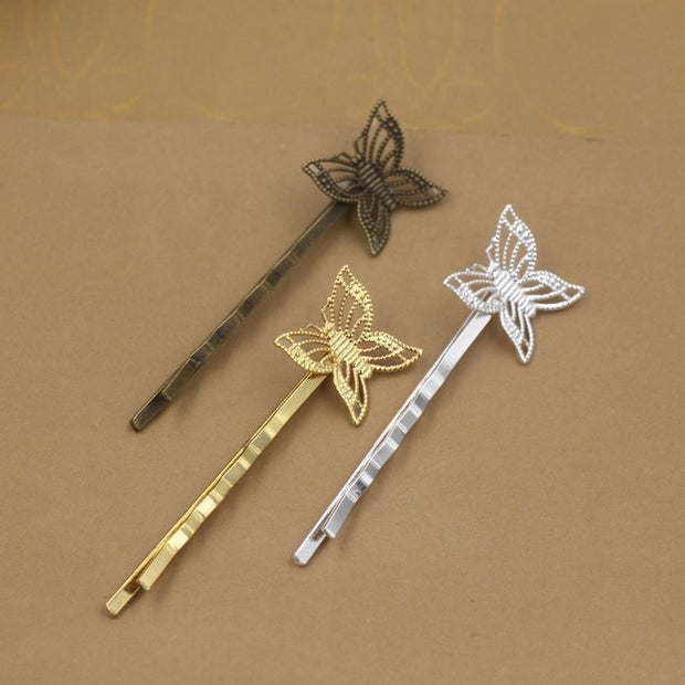 50pcs 55*17mm Metal Bobby Pin Vintage Butterfly Hairpin Rose Gold Silver Hairclip Antique Bronze Hair Clip Barrettes Diy Jewelry