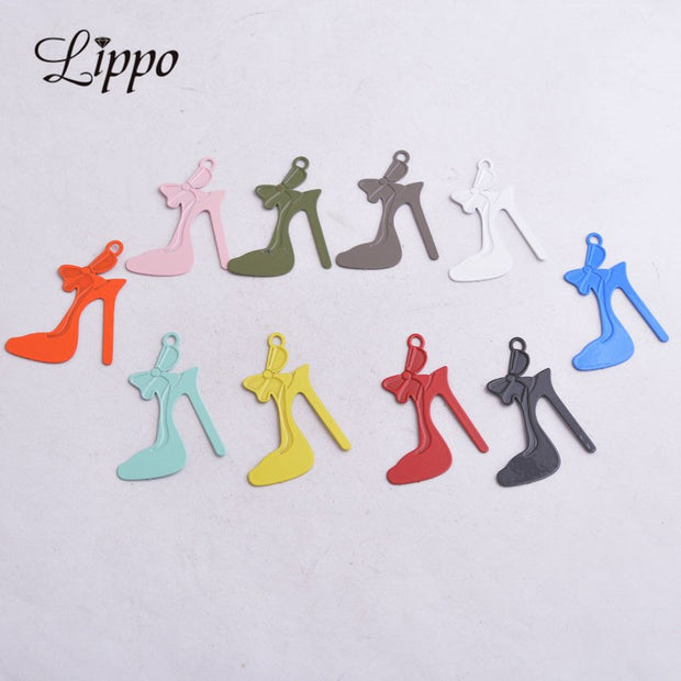50pcs AC9590 28mm*32mm Shoes Charms High-heeled Shoes Shape Articles Pendants Diy Earrings Jewelry