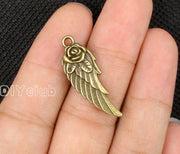50pcs-Antique Bronze 2 Sided Rose Flower Angel Wing Charms Pendant 31x11mm