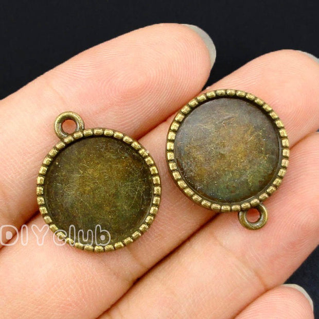 50pcs--Antique Bronze Round Pinkie Swear Cameo Cabochon Base Settings Charms, Inner 16mm