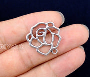 50pcs-Antique Silver 2 Sided Rose Flower Charms Pendant, Jewelry Finding 23x22mm