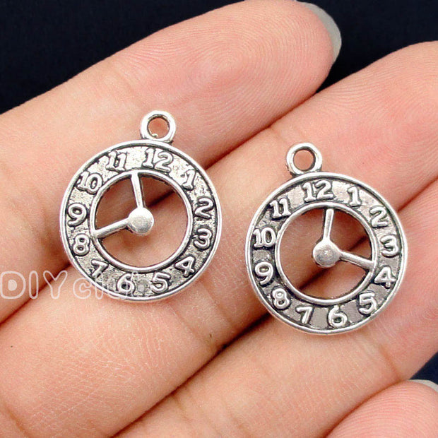 50pcs-Antique Silver Clock Charms Pendant 2 Sided 22x18mm
