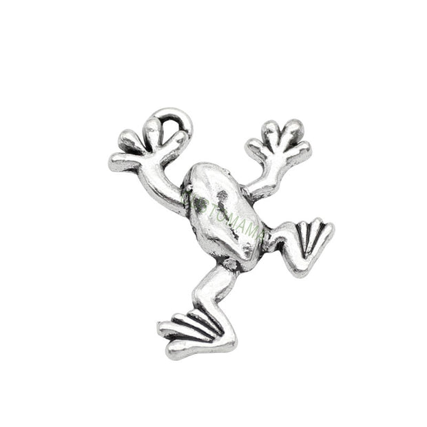 50pcs-Antique Silver Frog Charm Pendant 25x19mm