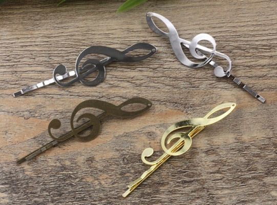 55/19*53mm Metal Bobby Pin Music Note Musical Hairpin Rose Gold Silver Hairclip Antique Bronze Hair Clip Barrettes Diy Jewelry