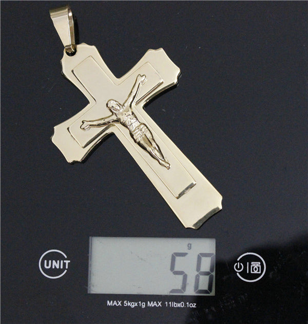 58g Biggest Cross Pendant Mens Cool Jewelry Accessories 2 Layers Golden Plated Jesus Pendant
