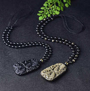 58x36mm Wonderful Chinese Handwork Natural Black Obsidian Carved Fish Happy Reunion Lucky Blessing Pendant Necklace Fashion