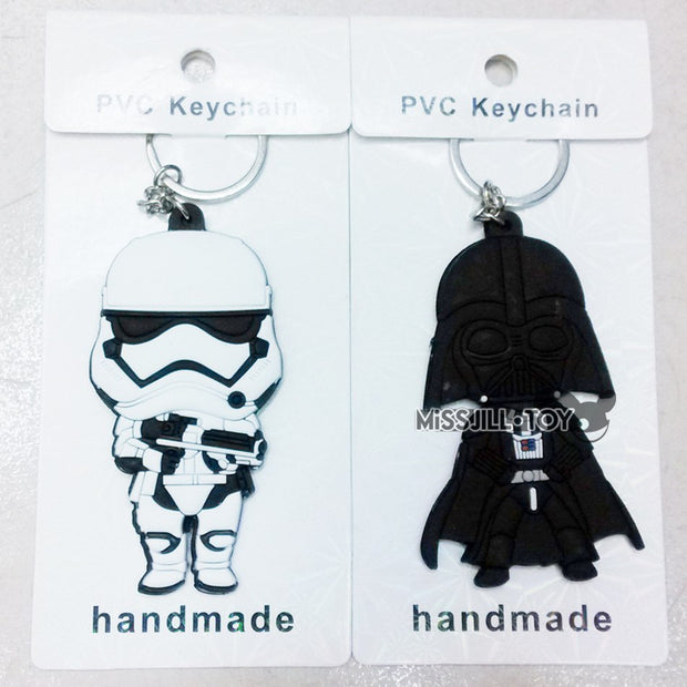 5PCS Star Wars Fashion KeyChain DarthVader/stormtrooper/Boba Fett/BB8/R2-D2 Soft Figure Doll Toy Jewelry Pendant Keyring GIFT