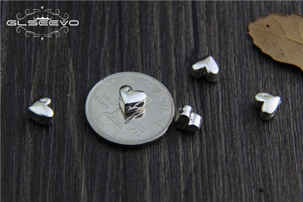 5pcs 925 Sterling Silver Beads, DIY Bracelet Necklace Heart Love Spacer Beads For Jewelry Making XA0423