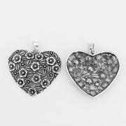 5pcs Antique Silver Big Large Open Heart Flower Leaf Intersperse Charms Pendants DIY Fittings
