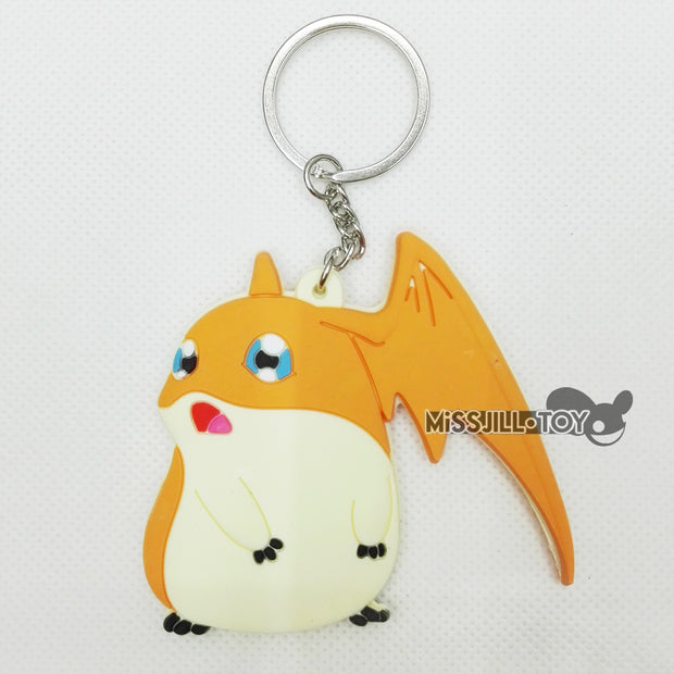 5pcs Digital Monster Digimons Patamon Model Figure Doll Toy Keychain Keyring Fashion Jewerly Pendant For Birthday Christmas Gift