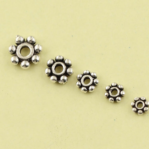 5pcs Vintage 925 Sterling Silver Beads DIY Bracelet Necklace Beads Around Oblate Gasket Spacer-Bead For Jewelry Making XA1489