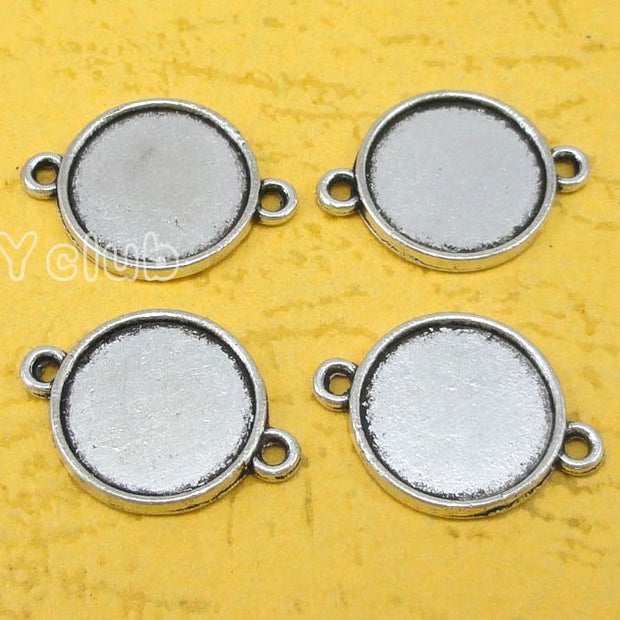 60pcs--Antique Silver Round Cameo Cabochon Base Setting Connector Charms, Inner 14mm