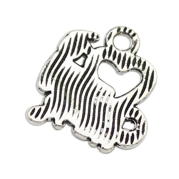 60pcs-Cheerleader Charms Antique Silver Love To Cheer Charm Pendant 18x16mm