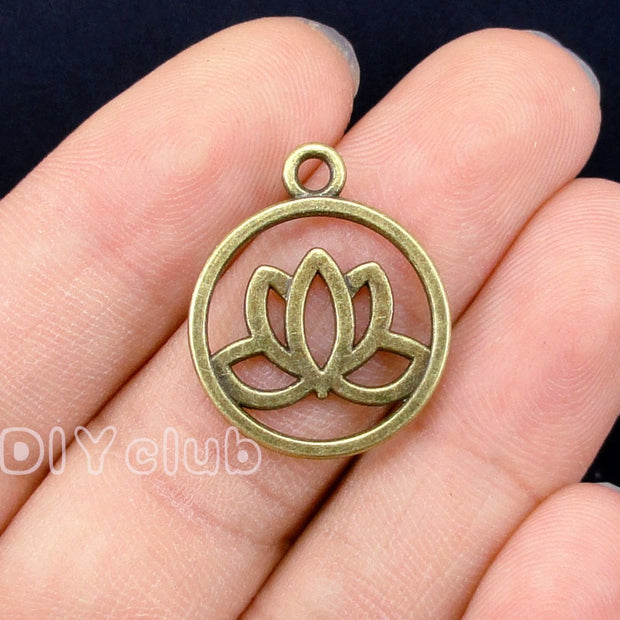 60pcs-Lotus Flower Charms, Antique Silver / Bronze / Gold Lotus Flower Charm Pendants 2 Sided 24x20mm