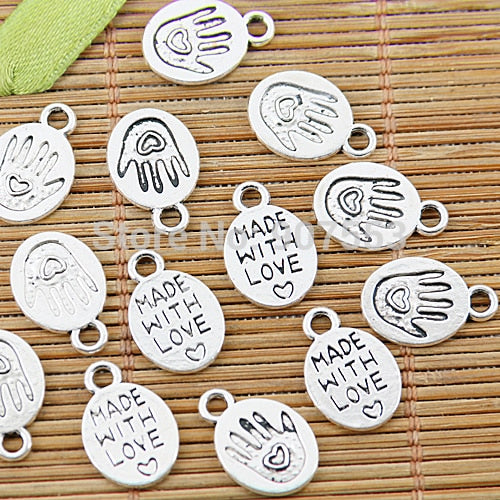 64pcs Tibetan Silvertone Made With Love Hand Charms EF1361