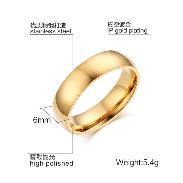 6mm SUNNERLEES Fashion Jewelry Titanium Stainless Steel Rings Silver Gold Blue Simple Design Smooth Ring Women Men Gift R-015